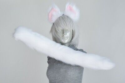 White Cat Tail and/or Ears Cosplay - White Cat Tail