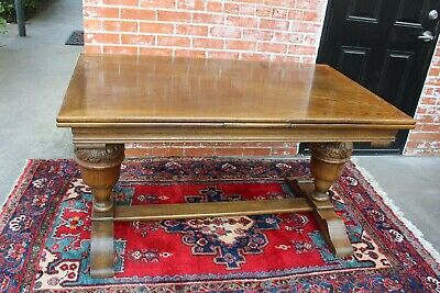 Antique English Renaissance  Oak Wood Draw Leaf Table | Dining Room Furniture