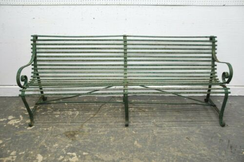 ANTIQUE VINTAGE FRENCH WROUGHT IRON PARK GARDEN BENCH SHABBY GREEN CHIC