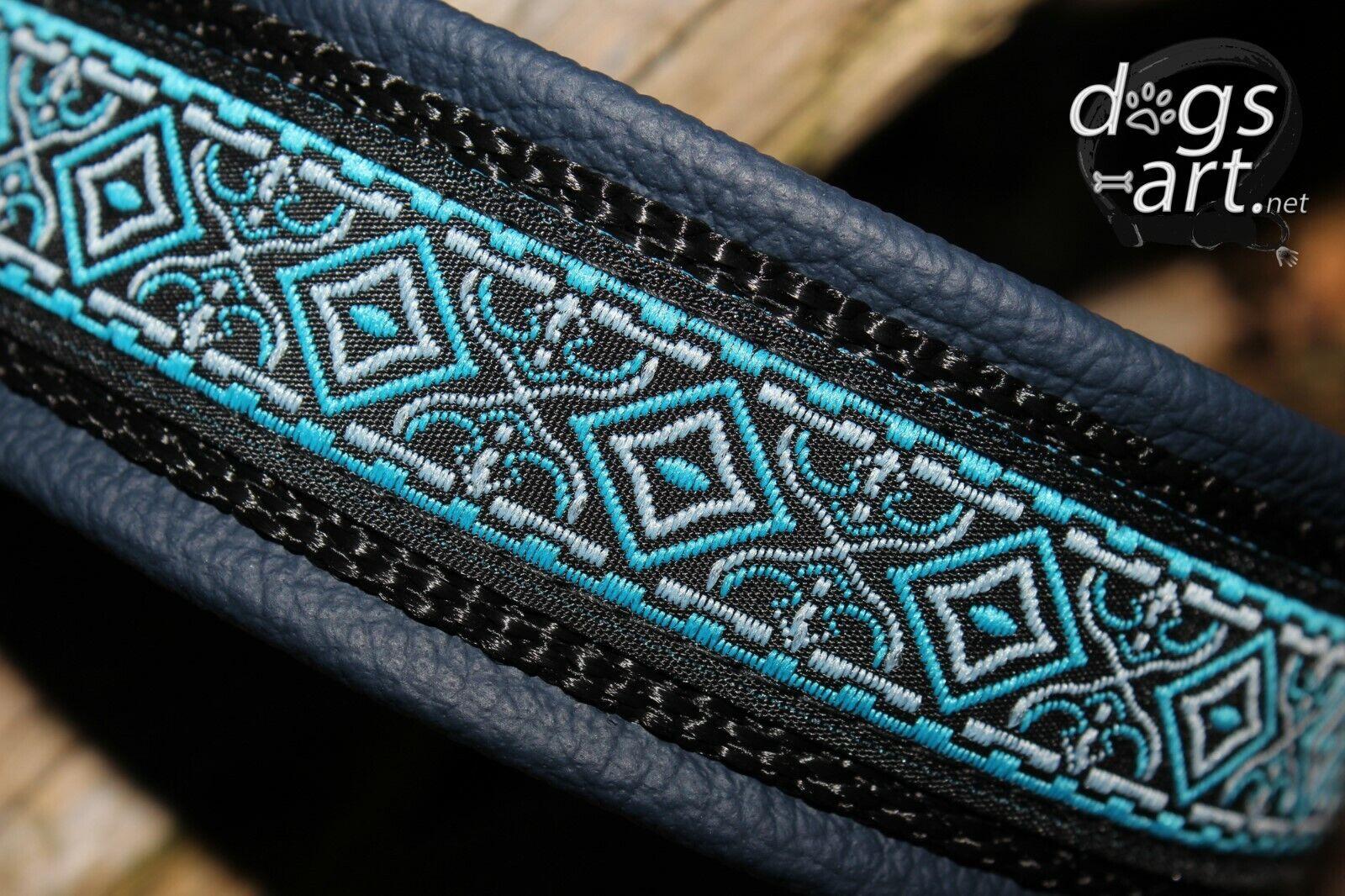 Hundehalsband Leder Blau Schwarz Coral Zugstopp Halsband Handmade