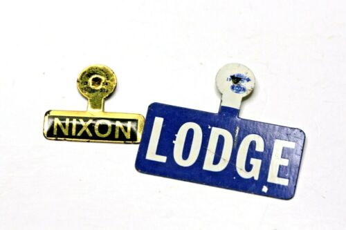 Nixon Lodge Campaign Fold Over Pins lot of 2 Nixon Gold Black Lodge Blue White