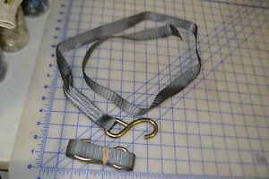 lot of 2 ratchet strap replacment grey webbing and metal hook only 54