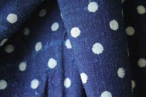 Grainsack Indigo blue POLKA DOT fabric linen cotton dyed indigo blue PER YARD