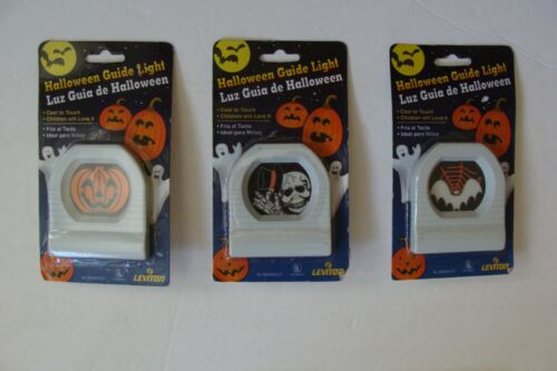 NEW ~ Lot of 3 Halloween Night Light Plug In Guide Light Pumpkin Skeleton Bat