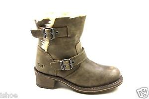 WOMENS CATERPILLAR CAT ANNA KICK LEATHER FAUX FUR BIKER ANKLE BOOTS SIZE 3-8 NEW
