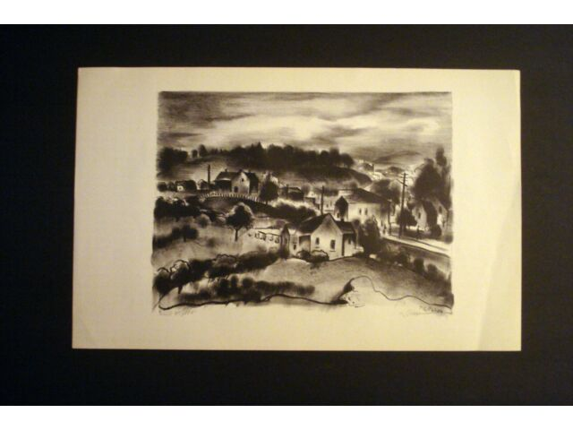 THEODORE POLOS 1940 LISTED  WPA  DUSK SIGNED  LITHO LTD #85   SFMOMA  THE MET