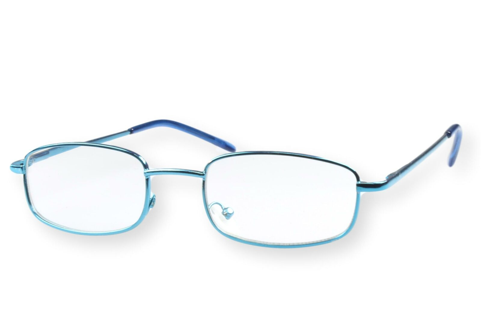 Lesebrille Herren Metall blau dünner schmaler Rahmen stabil Federbügel leicht