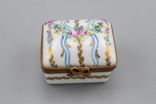 Limoges France Porcelain Trinket Box Pink Rose Bow Flower Blue Peint Main