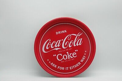 """Coca Cola Coke Metal 13"""" Round Serving Tray Ask For It Either Way Mancave"""
