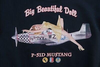 P51 Groß Schön Puppe Air Force Sweatshirt S BLACK Zweiter Weltkrieg Air Force-sweatshirt
