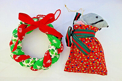 """Used, vintage Christmas ornaments quilted 4"""" wreath & mouse in Santa's bag for sale  Shipping to Canada"""
