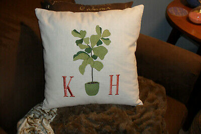 Fiddle Leaf Fig with Monogram-Linen - Contemporary Pillow -Custom- 16X16- New - Monogramed Pillows