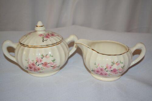 WS George Bolero Peach Blossom Creamer & Sugar Bowl Set Gold Trim Cream Antique