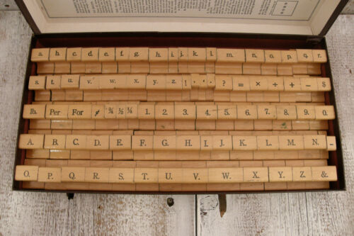 "82 Vintage Wood & Rubber Printer Stamp Set * Alphabet Numbers & Characters * 1"""