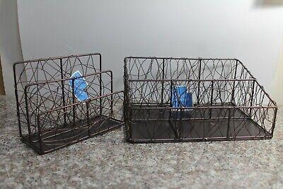 H3 Bronze Wire Desk Set Organizer Letter Holder Nwt Office Home Decor Free Sh