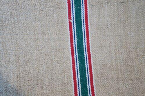 Antique European Hemp Grain Sack Beautiful Red White Blue and Green Stripes