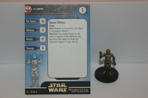 Star Wars Miniatures C-3PO #2 Rebel Storm w/ Card mini RPG Legion Assault