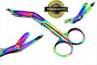 Heavy Duty German 1 Lister Bandage Nurse Scissors - 5.5 Titanium Color Rainbow