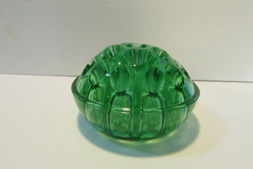 vintage 19 holes green dome shaped glass flower frog