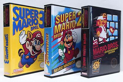 Super Mario Bros. 1, 2, 3, 1-3 NES Custom Game Cases Set - NO GAMES INCLUDED