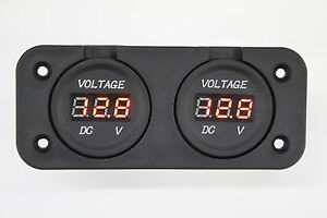 DUAL-BATTERY-SYSTEM-MONITOR-FLUSH-MOUNT-BOAT-MARINE-VOLT-GAUGE-12V-4X4-FRIDGE