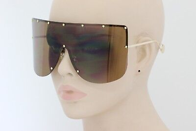 XXL OVERSIZED Huge Big Shield Mask Half Face Owen Flat Top SUNGLASSES Gold Lens
