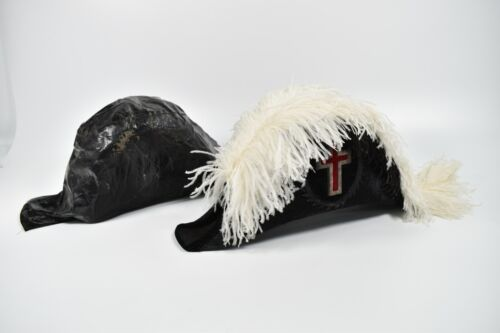 Vintage 1800s Masonic Knights Templar Hat Cover Ostrich Feather W M H Horstmann