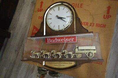 SWEET Vintage BUDWEISER CLYDESDALE Horse Beer Sign w Clock Item 023-061 w BOX