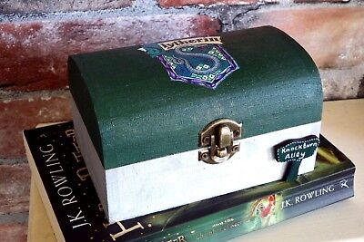 Personalised, Harry Potter inspired Slytherin Green and Silver trinket box