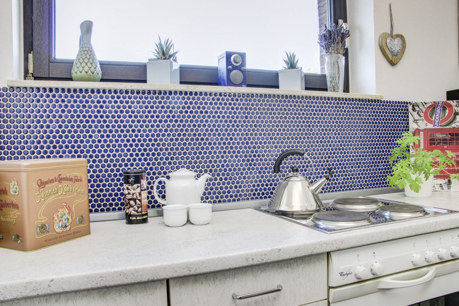 Fliesenspiegel Küche Keramik Mosaik Knopf kobaltblau glänzend Art ...