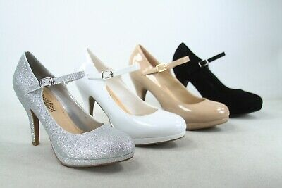 Women's Ankle Strap Round Closed Toe Stiletto Heel Platform Pumps Shoes  NEW Black Ankle Strap Pumps