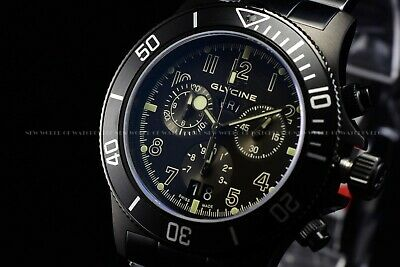 "Glycine Men 42mm Combat Sub Sapphire Chrono ""SWISS MADE"" Triple Black Watch 1001"