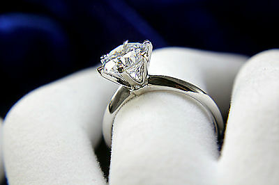 1 Carat D VS2 Enhanced Engagement Ring Round Cut 14K White Gold Solitaire