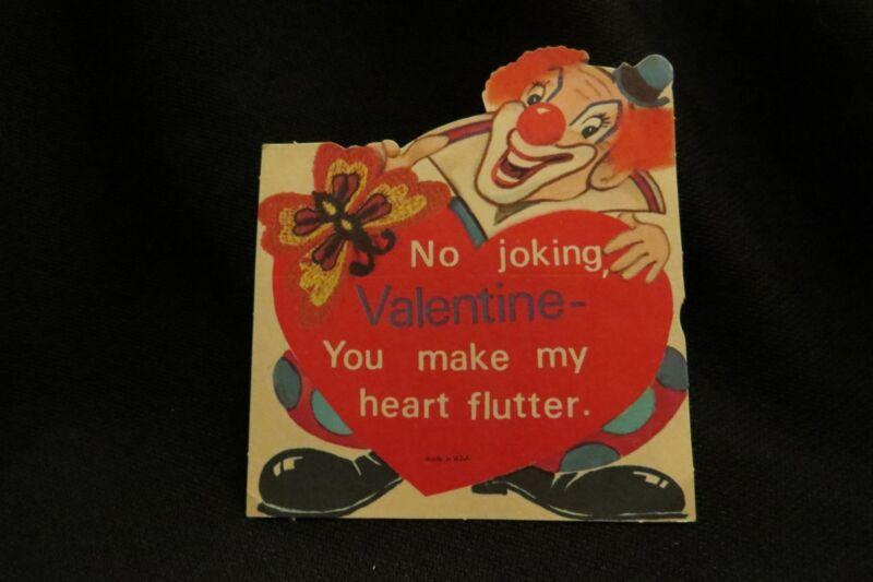 Vintage Clown & Macramé Butterfly Valentine Card