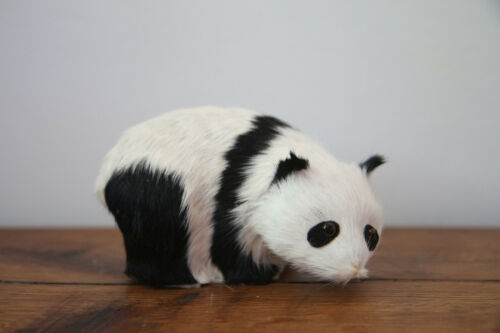 Real Fur Handmade Panda Bear Figurine Artisan Crafted Adorable Rustic