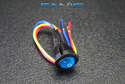 Rocker Switch On Off Blue Toggle Led 12v 16 Amp 3 Pin Is-ec-ir1216blu