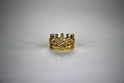 10K or 14K Yellow or White Gold Crown Ring for Baby Ring Size 0.5 & Size 1 10k White Gold Crown