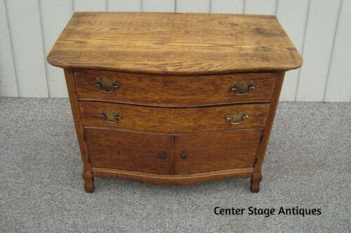 61143  Antique Victorian Oak Wash Stand Dresser Chest