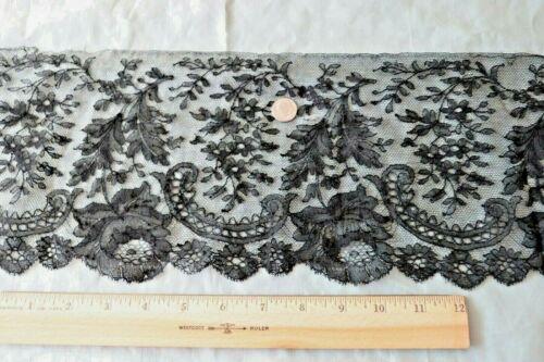"Pretty Antique French Black Chantilly Handmade Lace Flounce~L-24"" X W-6"""