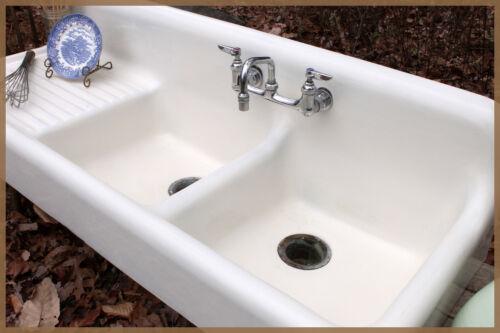 Amazing 1931 Dual Basin Single Drainboard Farmhouse Farm Vintage Sink