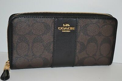 NWOT COACH SIGNATURE PVC & LEATHER ACCORDION ZIP AROUND  WALLET in BRN/BLK
