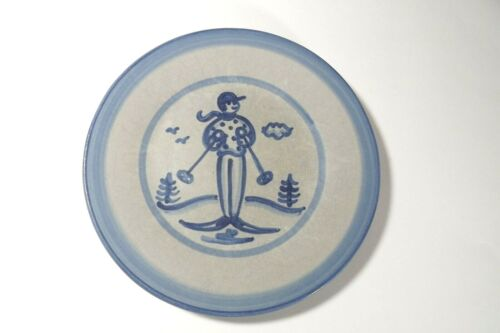 """RARE Vintage M.A. HADLEY SEASONAL PATTERN Signed Pottery 9"""" LUNCH PLATE """"SKIER"""""""