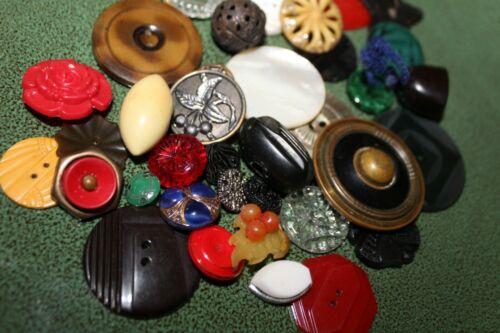 Vintage Lot 37 Fancy Sewing Buttons Glass MOP Bakelite Celluloid Plastic Metal