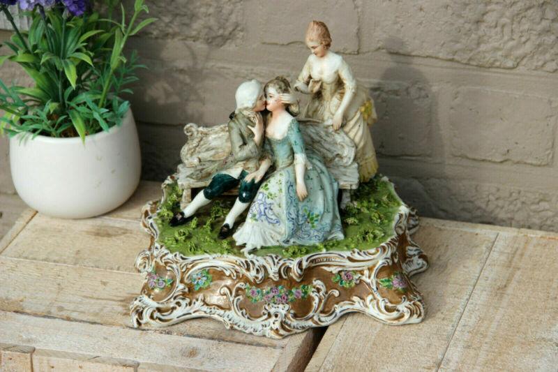 Antique German Porcelain Statue group romantic