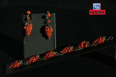 FINE Victorian Red Coral  Gold Vermeil Earrings and Bracelet Grape Clusters