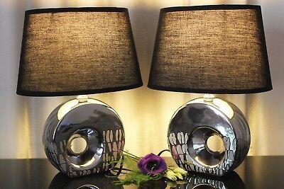 Silber Tischleuchte (2 Lampen Tischleuchte schwarz silber Nachttischlampe Tischlampe Keramik )