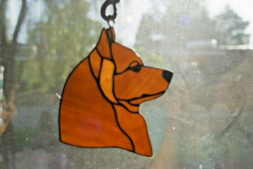 STAINED GLASS DOG -FINISH SPITZ