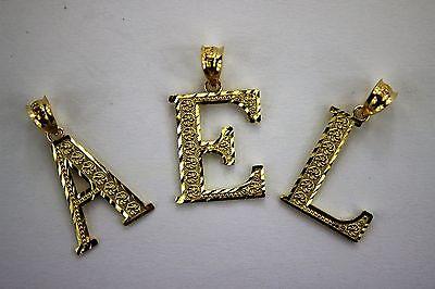 10K Yellow Gold Initial Pendant Charm Diamond Cut A ~ Z Alphabet 3 Sizes