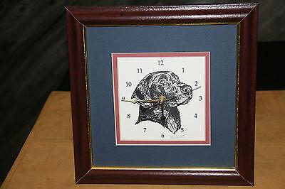"""BLACK LABRADOR RETRIEVER CLOCK... HANDPRINTED... 9 3/4"""" SQUARE"""