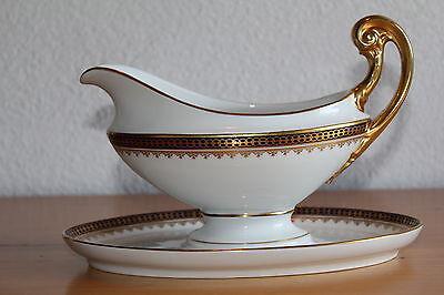 Antike Sauciere Böhmen Karlsbad Porzellan Empire Gold Bohemia
